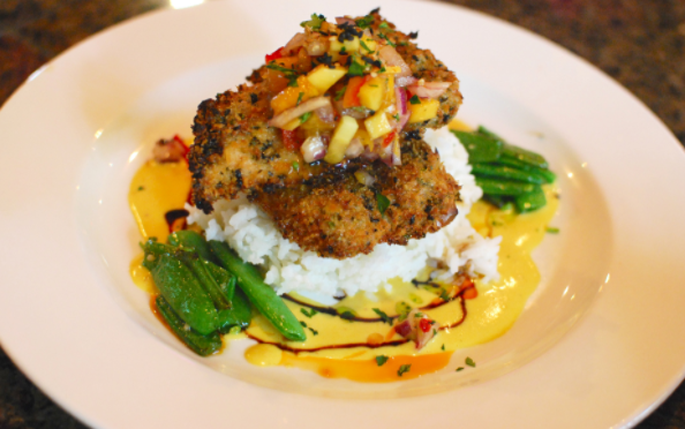 Macadamia nut crusted kanpachi